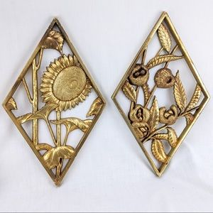 Vintage Gold Painted Wooden Floral Wall Hangers